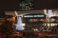 Christmas decoration - railway station in Warsaw Stock Images