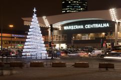 Christmas decoration - railway station in Warsaw Stock Photo