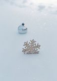 Christmas decoration on a real snow outdoors Stock Photo