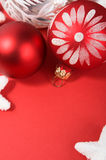 Christmas decoration on the red. Royalty Free Stock Photos