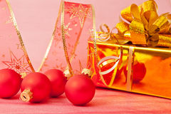 Christmas Decoration on a red Royalty Free Stock Photography