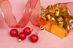 Christmas Decoration on a red Royalty Free Stock Photo