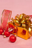 Christmas Decoration on a red Stock Image
