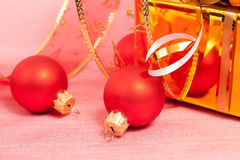 Christmas Decoration on a red Royalty Free Stock Images