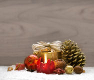 Christmas  decoration and red  Advent candle. Royalty Free Stock Image
