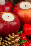 Christmas decoration with red apples background Royalty Free Stock Images
