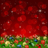 Christmas Decoration on red background Royalty Free Stock Image