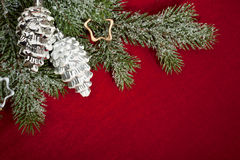 Christmas decoration on red Stock Photo