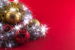 Christmas decoration on red background. Christmas decoration, red gold and silver, on red background Royalty Free Stock Photography