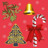 Christmas Decoration On Red Background stock illustration