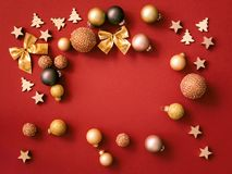 Christmas decoration on red background stock image