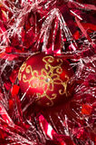 Christmas decoration at red background Royalty Free Stock Image