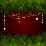 Christmas decoration on red background Royalty Free Stock Photography