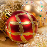 Christmas decoration red ball Stock Photos