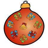 Christmas decoration. Red ball with colored icons. Christmas decoration set. Vector. Funny Christmas icons vector illustration