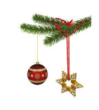 Christmas decoration. Christmas red ball and gingerbread star with spruce branch and ribbon. 3D illustration  on white background closeup Royalty Free Stock Photography