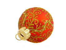 Christmas decoration, the red ball isolated Stock Image