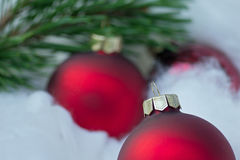 Christmas. Decoration with red balls Stock Photos