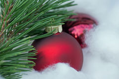 Christmas. Decoration with red balls Royalty Free Stock Photo