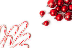 Christmas Decoration. Red Balls And Bells. Natural Linen Background Royalty Free Stock Image