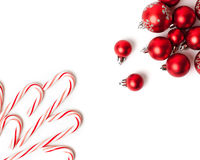 Christmas Decoration. Red Balls And Bells. Natural Linen Background Stock Photography