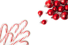 Christmas Decoration. Red Balls And Bells Royalty Free Stock Photos
