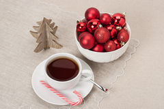 Christmas Decoration. Red Balls And Bells. Natural. Linen Background Stock Photography