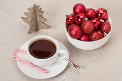 Christmas Decoration. Red Balls And Bells. Natural Stock Photos