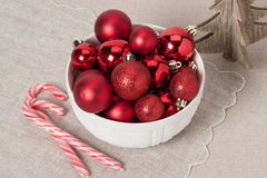 Christmas Decoration. Red Balls And Bells. Natural. Linen Background Stock Photo