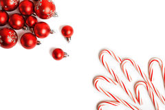 Christmas Decoration. Red Balls And Bells. Natural Linen Background Royalty Free Stock Photography
