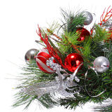 Christmas Decoration. Red Balls on Christmas tree branch isolate Royalty Free Stock Photo