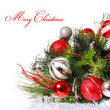 Christmas Decoration. Red Balls on Christmas tree branch Stock Images