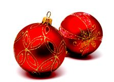 Christmas decoration red balls  isolated on a white Royalty Free Stock Image