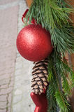 Christmas decoration with red balls Royalty Free Stock Photography