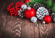Christmas decoration with red balls pinecone Royalty Free Stock Photography