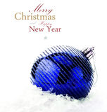 Christmas decoration with red bauble and snow  (with easy remova Stock Photography