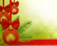 Christmas decoration with red baubles Stock Photo