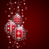 Christmas decoration with red baubles Royalty Free Stock Image