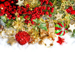 Christmas decoration with red baubles, golden ornaments and ligh Royalty Free Stock Image