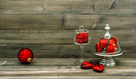 Christmas decoration with red baubles. nostalgic home interior Royalty Free Stock Image