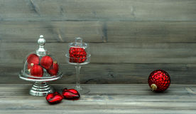 Christmas decoration with red baubles. nostalgic still life Royalty Free Stock Photography