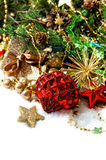 Christmas decoration with red baubles and stars Stock Photo
