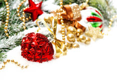Christmas decoration with red baubles und golden ornament Royalty Free Stock Images