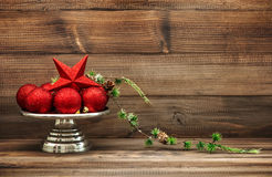 Christmas decoration with red baubles. Vintage still life Stock Photography