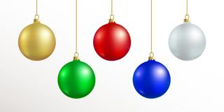 Christmas decoration. Red, blue, silver, gold, green color xmas ball hanging. On gold string isolated on white background. Realistic sphere decor with shadow Stock Images