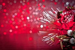 Christmas decoration on red bokeh background Royalty Free Stock Photo