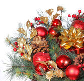Christmas Decoration. Red Bolls on Christmas tree branch Stock Image