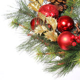 Christmas Decoration. Red Bolls on Christmas tree branch Royalty Free Stock Images