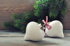Christmas decoration with red bow Stock Photos