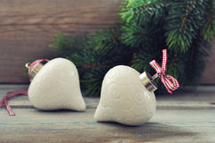 Christmas decoration with red bow Royalty Free Stock Photo